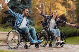 הצהרת נגישות בתמונה גבר ואישה על כסאות גלגלים מסתובבים ברחבי הפארק.