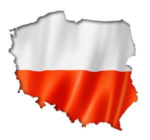 תרגום לפולנית בתמונה: דגל פולין על מפת פולין על רקע לבן
