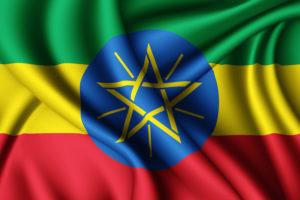 תרגום לאמהרית בתמונה דגל אתיופיה פסים ירוק צהוב אדום עיגול כחות במרכז ועלין כוחב