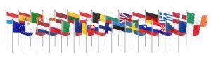 בתמונה: 28 דגלים של מדינות האיחוד האירופי. על רקע לבן