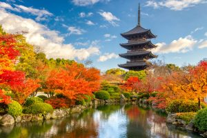 תרגום ליפנית בתמונה גן ביפן אגם קטן מוקף צמיחה ירוק אדום ברקע מגדל אפור ארבע פינות