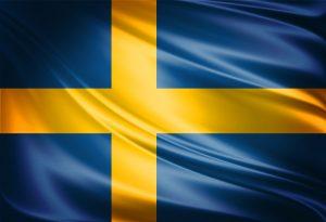 תרגום לשבדית בתמונה: דגל שוודיה צלב צהוב על רקע כחול תרגום לשוודית מעברית ואנגלית